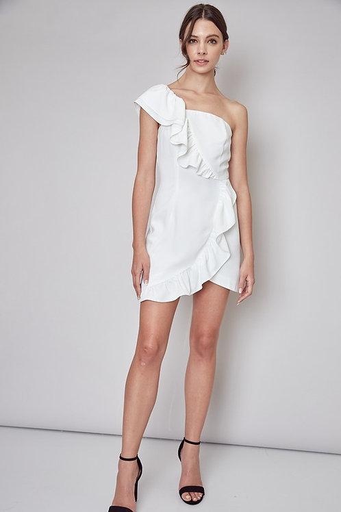 One Shoulder Asymmetric Ruffle Detail Dress