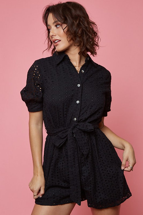 Short Sleeve Eyelet Button Down Belted Romper