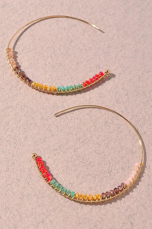 Bead Hoop Earrings  - Multi-Colour