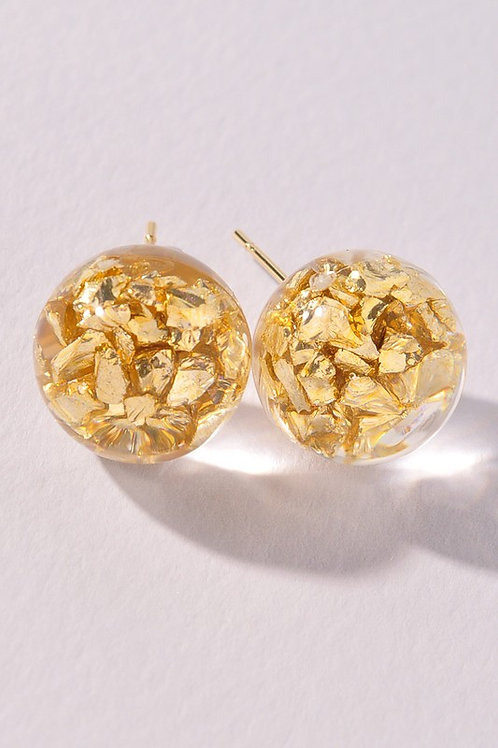 Crushed Gold Round Stud Earrings