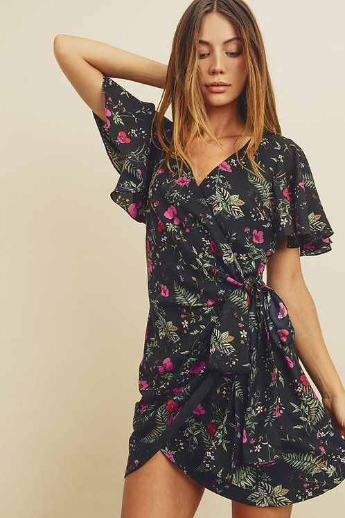 Flutter Sleeve Surplice Floral Wrap Dress