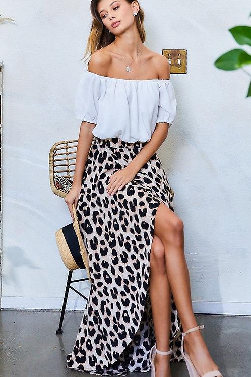 Off The Shoulder Contrast Leopard Print Skirt Maxi Dress