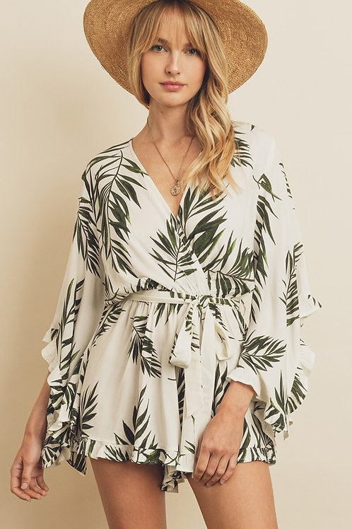Leaf Print Kimono Sash Romper