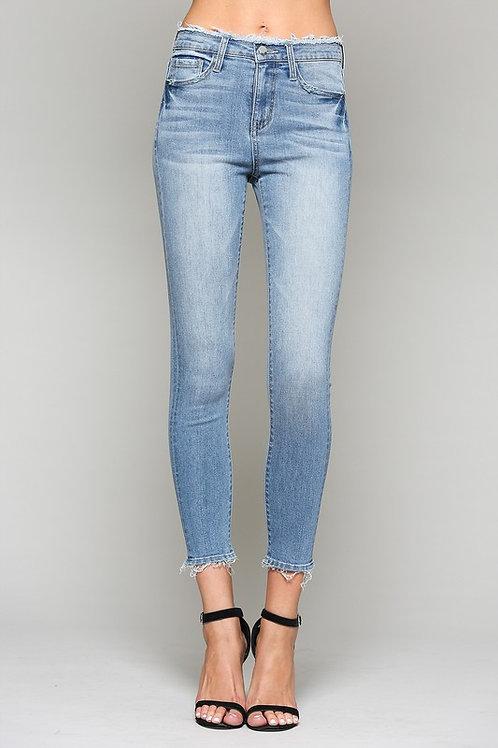 High Rise Frayed Waist and Hem Crop Skinny Jeans