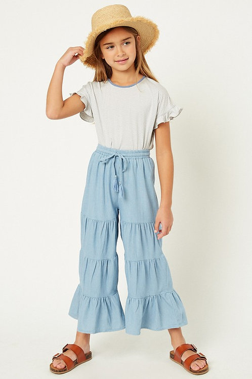 Tiered Chambray Wide Leg Drawstring Pants