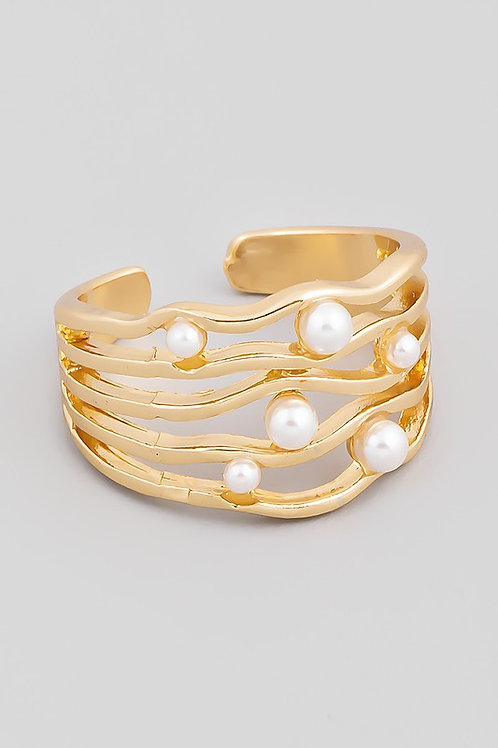 Adjustable Multi Stack Pearl Detail Ring