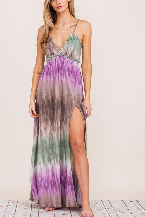 Tie Back Tie Dye Beach Maxi Dress