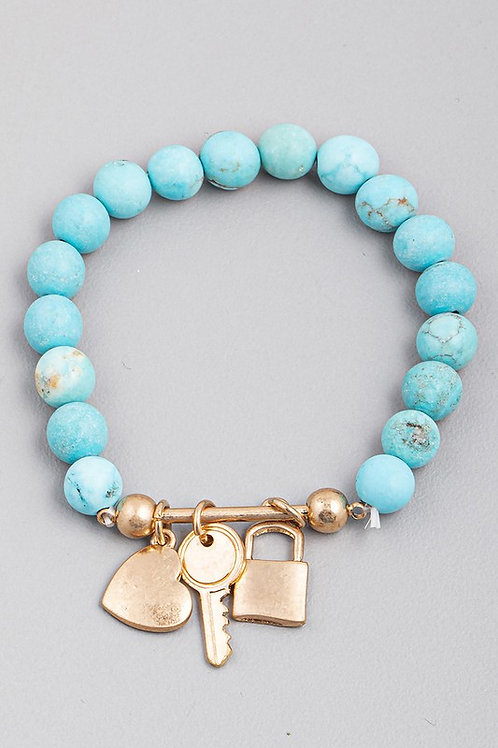 Turquoise Bead Charm Detail Bracelet