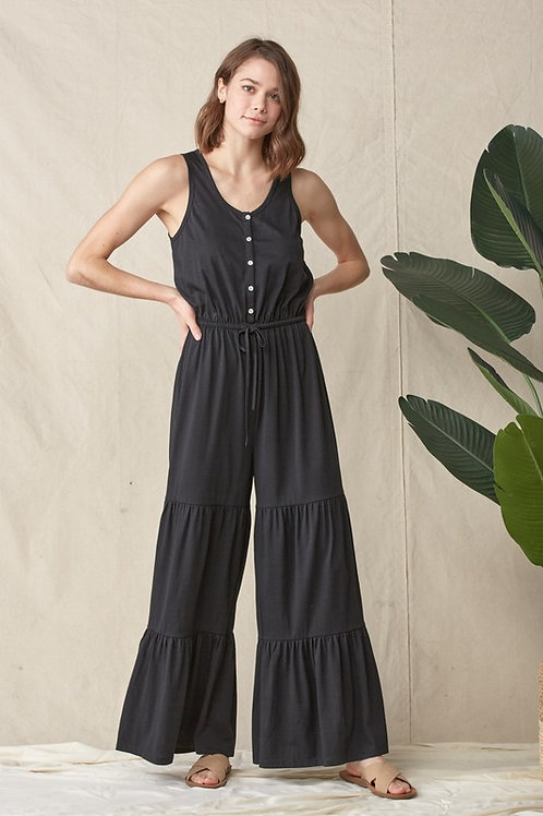 Sleeveless Tiered Button Down Drawstring Jumpsuit