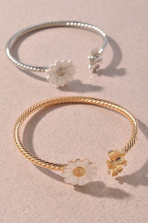 Gold Flower Bee Open Bracelet