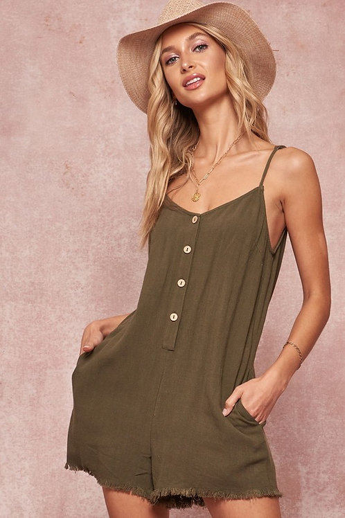 Spaghetti Strap Button Down Loose Fit Romper With Frayed Hem