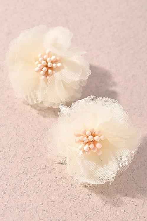White Flower Fabric Bead Stud Earrings