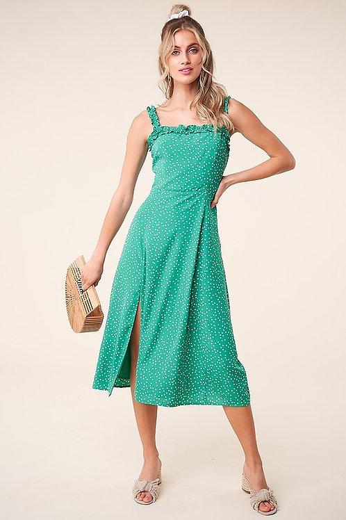 Polka Dot Side Slit Midi Dress
