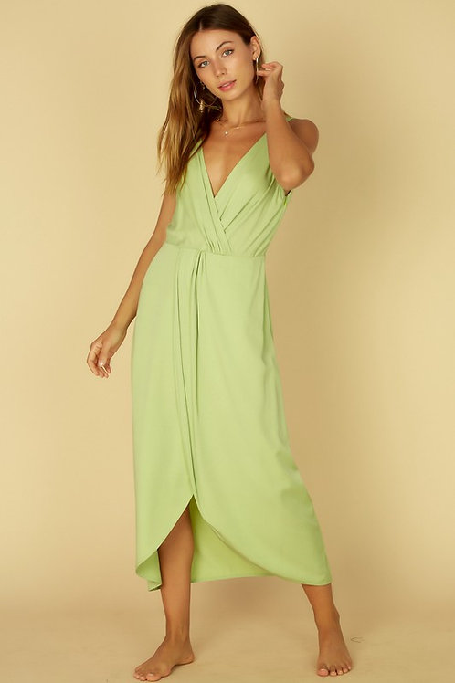 Sleeveless Surplice Back to Front Midi Dress (Available in Lime)