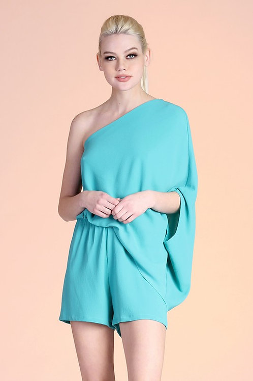 One Shoulder Draped Effect Romper