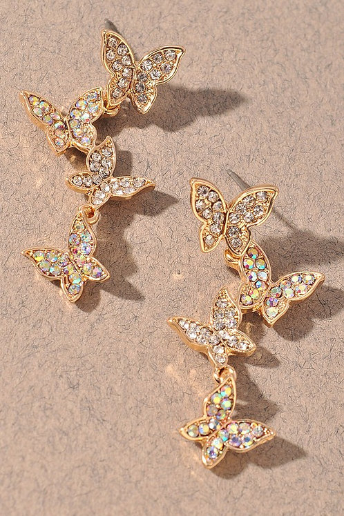 Cascading Gold Crystal Butterfly Drop Earrings
