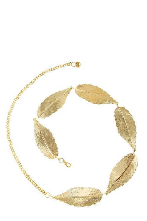Leaf Detail Metallic Chain Belt