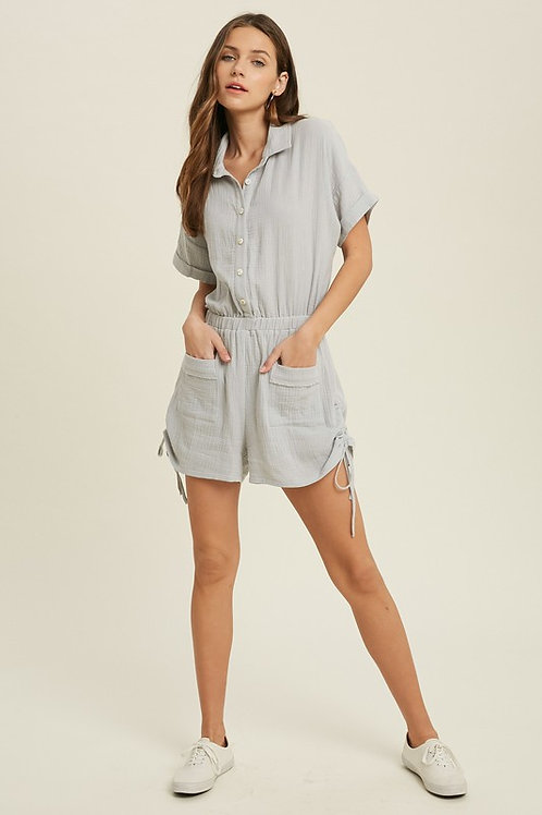 Short Sleeve Button Down Ruched Side Front Pocket Cotton Romper