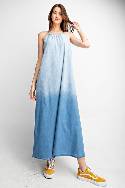 Halter Neckline Low Back Denim Maxi Dress