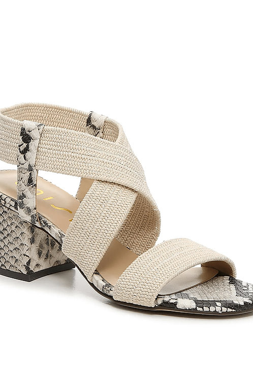Nude Crisscross Strap Snake Print Detail Block Heel Sandals (Preorder)