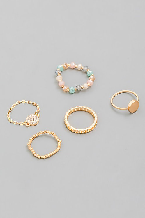 Gold Chain Multi-colour Bead Assorted Ring Set