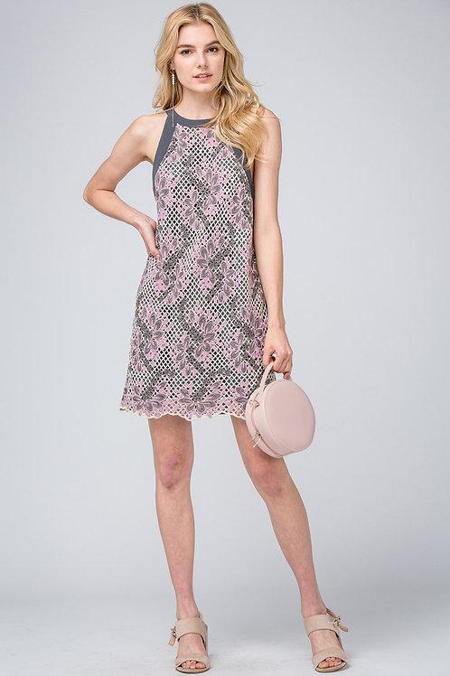 Halter Neckline Floral Mesh Detail Keyhole Back Dress