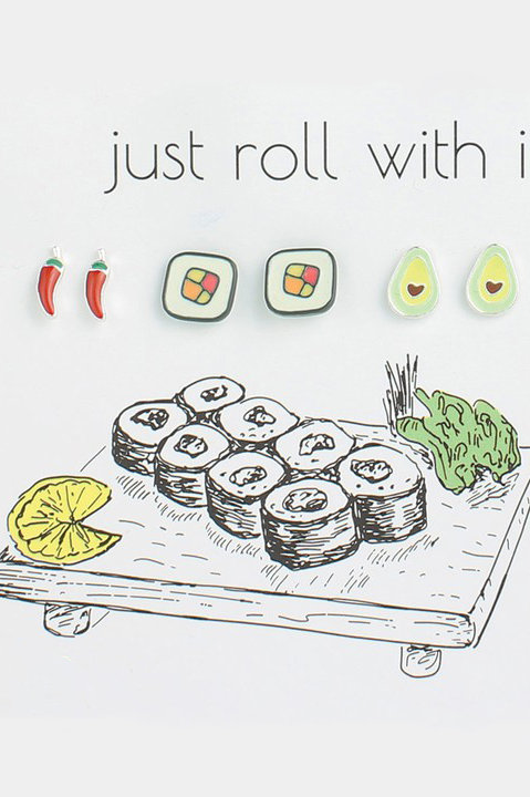 Sushi Lovers Just Roll With It Stud Earrings