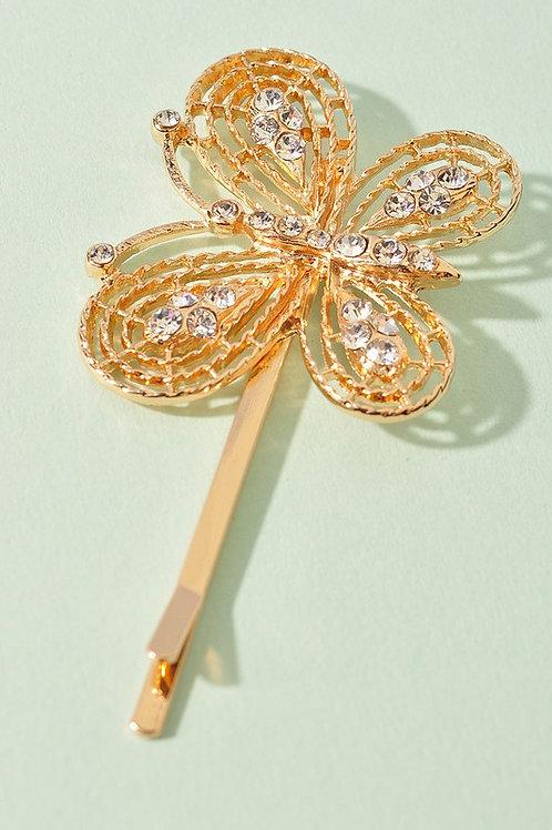 Gold Butterfly Rhinestone Detail Hair Clip