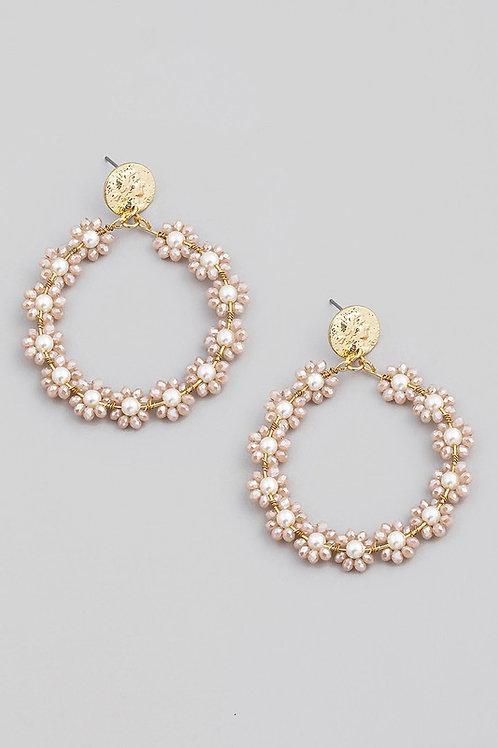 Peach Floral Circular Drop Earrings