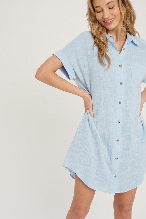 Textured Cotton Button Down Shirt Dress