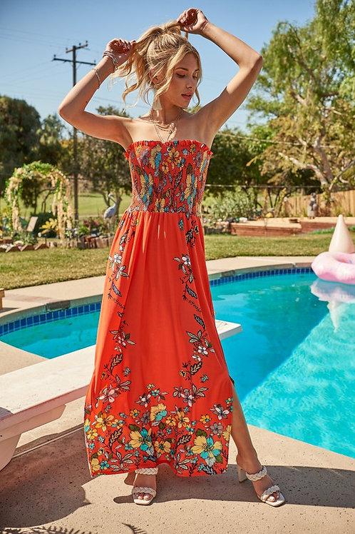 Smocked Floral Print Maxi Dress