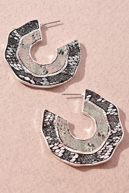 Hematite Print Hoop Earrings