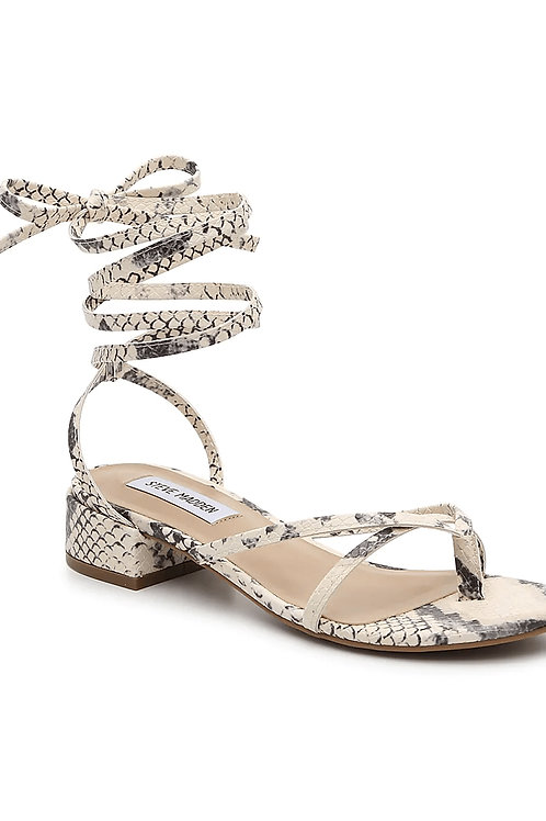 Snake Print Strappy Ankle Low Block Heel Thong Sandals