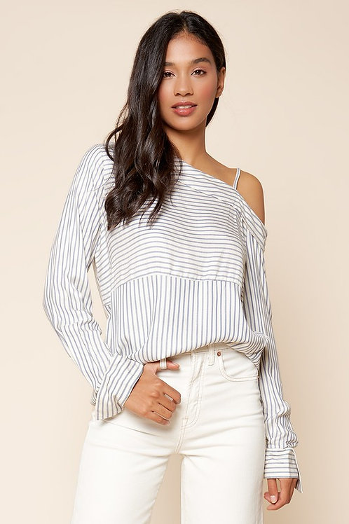 One Shoulder Striped Shirt (Preorder)