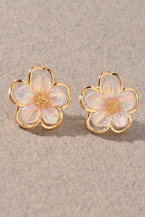 Gold/Peach Flower Stud Earrings (Preorder)