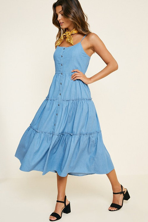 Denim Button Down Tiered Dress - Girls Sizes Also Available in 7 - 14 (Preorder)