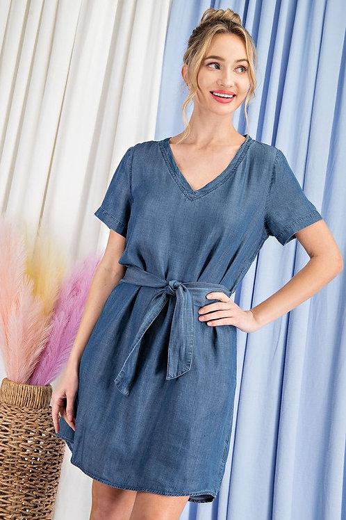 Short Sleeve V Neck Belted Denim Dress