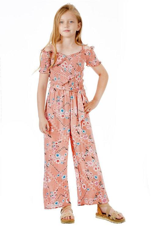Floral Cold Shoulder Smocked Bodice Belted Jumpsuit - Blush