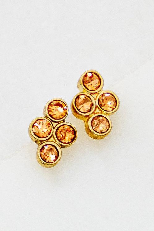 Mini Peach Stud Cluster Earrings