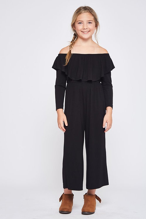 Off The Shoulder Ruffle Detail Jumpsuit - Available in Rust