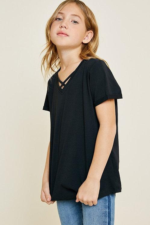 Criss Cross Front Short Sleeve T-Shirt - Black