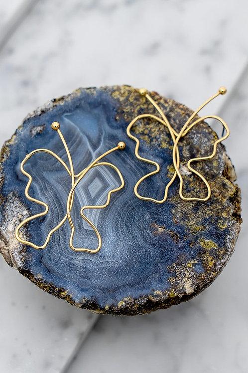 Wire Butterfly Stud Earrings