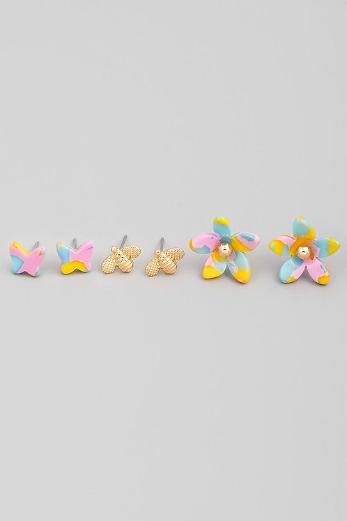Multi-colour Butterfly, Bee and Flower Earring Stud Set