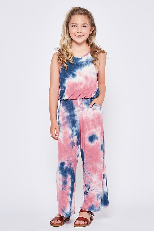 Sleeveless Tie Dye Jumpsuit With Side Pockets