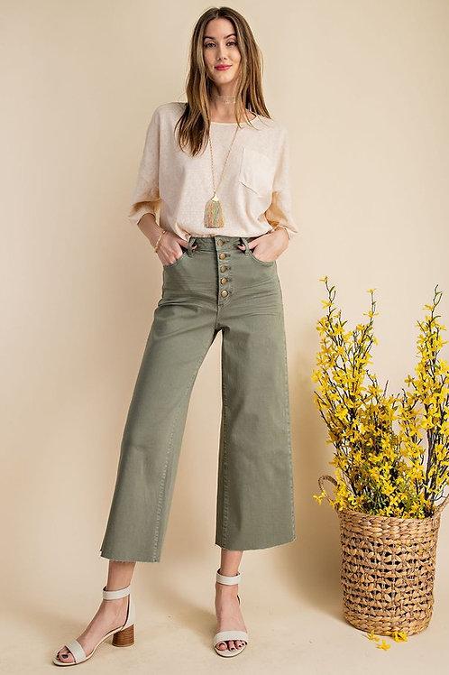 High Waist Button Front Raw Hem Culotte Pants
