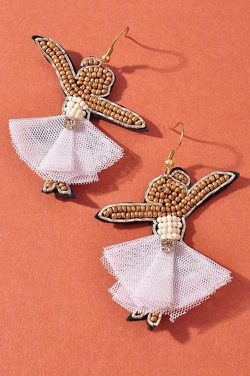 Bead Fabric Angel Earrings