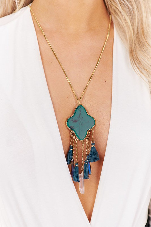 Antique Gold Long Necklace with Turquoise and Clear Tassel Detail Pendant