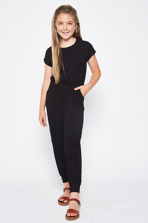 Short Sleeve Boat Neck Cuffed Leg Jumpsuit - Available in Pink (Preorder)