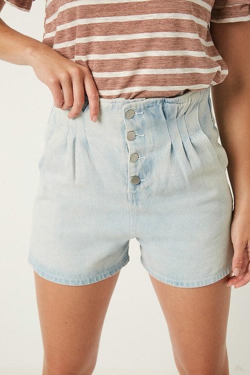 Button Down High Waisted Pleated Denim Shorts