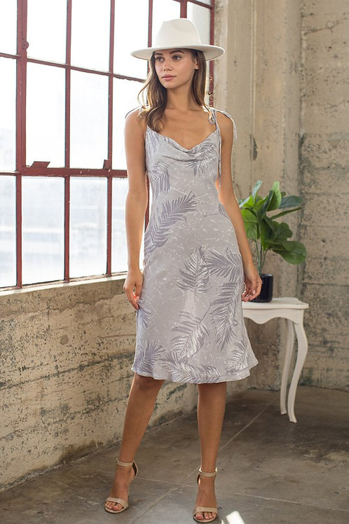 Tie Strap Cowl Neck Leaf Print Dress